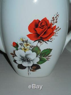 VINTAGE FRENCH COFFEE SET signed BADONVILLER FLORAL & Gold borders on rims