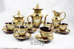 VINTAGE ITALIAN MURANO 15 PIECE RED RUBY ART GLASS 24k GOLD GILDED COFFEE SET