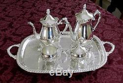 VINTAGE Leonard Silverplate Coffee & Tea Serving Set 2 Carafes Tray Cremr Sugar