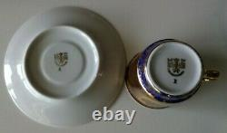VINTAGE M Z CZECHOSLOVAKIA COFFEE SET. 10 CUP. RICHLY DECORATED with GOLD