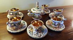 VINTAGE, R. CAPODIMONTE E&B COFFEE SET WITH SUGAR BOWL. CIRCA 1920-30`s RARE