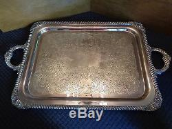 VINTAGE REED & BARTON 6 PIECE REGENT TEA/COFFEE SILVERPLATE SET with FOOTED TRAY