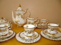 VINTAGE ROYAL ALBERT ANTOINETTE GOLD 21 piece COFFEE SET, used in VGC