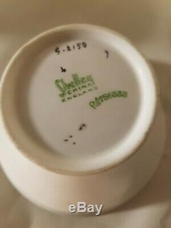 VINTAGE SHELLEY FINE BONE CHINA ART DECO COFFEE SET 4 CUPS & bowl WHITE