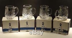 VINTAGE Waterford Crystal 490-091 Set of 4 Beer Coffee Mug Tankards 1/2 14 oz