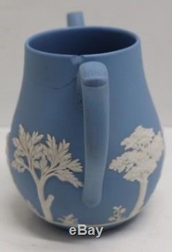 VTG 14 pc Set Wedgwood England Blue Jasperware Coffee Pot Mini Cups & Saucers