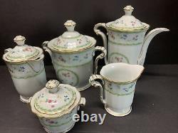 VTG Bernardaud Limoges Artois Green Versailles Shape Coffee & Tea Pot Set Of 5