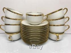 VTG Haviland Limoges French White & Gold Trim 12 Saucer N 9 Cup Tea & Coffee Set