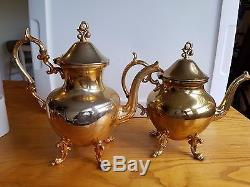 VTG Rare Gold Finish Silver On Copper R. S. G. Birmingham Co. 5 Pc Tea Coffee Set