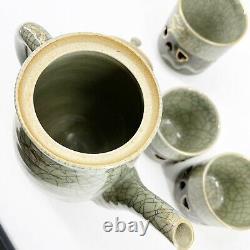 VTG Rare Somayaki Soma Ware Green Crackle Horse Heart Coffee Tea Pot 4 Cups Set