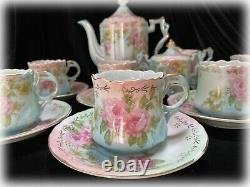 VTG Repro R S Prussia Coffee Tea Set RPU12 Porcelain Pink Flowers & Gold 18 Pc