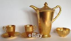 Vtg Syracuse China Shelledge Gold Hand Painted Coffee Pot Cups W