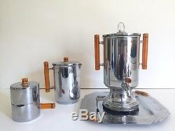 Vintage 1930's Art Deco Farberware Chrome Bakelite Coffee & Tea Service 8pc Set