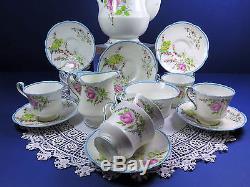 Vintage 1930's Paragon Complete Coffee Set Princess Margaret Budgies & Roses