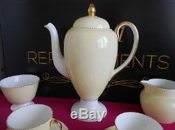 Vintage 1940's Wedgwood April Colours Yellow Coffee Pot Set Saucers Cups Sugar