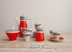 Vintage 1950s Coffee Set 50s Red White Mid Century Porcelain Set Atomi