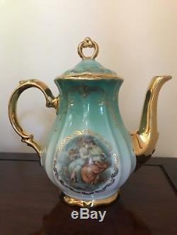 Vintage 1950s Porcelain Bavaria KHM Germany Coffee/Tea Set For 6 Gold/ Green