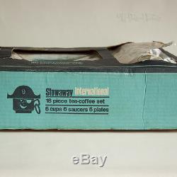 Vintage 1973 Retro 18 Piece Blue Brown Boxed Tea-Coffee Set Stowaway FREE UK P&P
