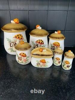 Vintage 1978 Sears and Roebuck Merry Mushroom Canister Set Excellent Condition