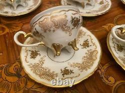 Vintage 5 cups 5 Saucers German Weimar Josefine Full Mocca Coffee Set