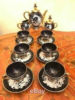 Vintage 6 cups 6 Saucer Pot Milk Italian Handmade Ceramic Black Coffee Set