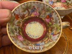 Vintage 6 cups 6 Saucers Germany Bavaria Rococo Porcelain Coffee Set
