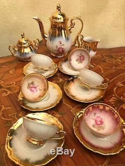 Vintage 6 cups 6 saucers RW Rudolph Wacther Bavaria Porcelain Coffee Set