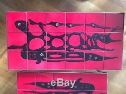 Vintage 60s Red And Black Paint Splash Belarti Set Of 3 Tiled Coffee Tables