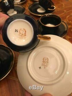 Vintage 8 cups 8 saucer Pot Milk Sugar Echt Cobalt Poland Porcelain Coffee Set