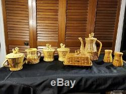 Vintage 8 piece Ceramic Coffee Tea Set with Roosters and Basket Weave pattern