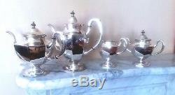 Vintage 950 Sterling Silver-4pcTea-and-Coffee-Set-Japan