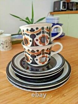 Vintage ARABIA Finland Riikka Coffee Set ANJA JAATINEN-WINQVIST 8 pcs