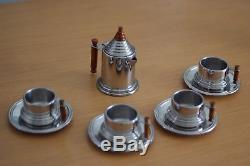 Vintage Alpu Puppieni Italy Stainless Coffee Cup Saucer Plate and Pot set, Mint