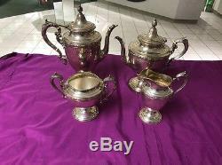 Vintage Alvin Sterling Silver Coffee & Tea Pot Set 4 Pc