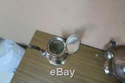 Vintage Apollo Sheffield Nickel Silver BRS Tea Coffee 5 Piece Set Tray