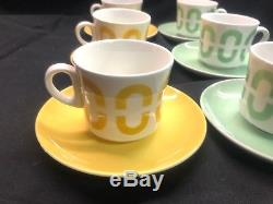 Vintage Arabia of Finland Coffee Cup/Mug and Saucer Set of 6! Mid Century Green