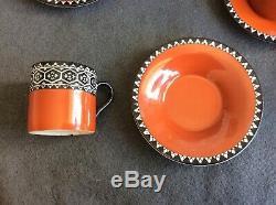 Vintage Art Deco Bursley Ltd Woods Elizabethan Coffee Pot Set Cups, Saucers x6