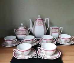 Vintage Art Deco French Limoges F Porcelain Six Setting Coffee/Tea Set 17 Pieces