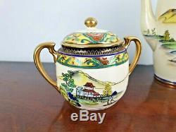 Vintage Art Deco Noritake Tea Coffee Set Japan Hand Painted Oriental Fine China