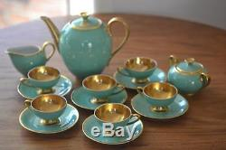 Vintage Art Deco Plunkenhammer Floss Bavaria German 17 Pc Coffee Set Gold Wash