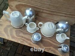 Vintage Art Deco Tea Coffee Milk Jug Pots Sugar Bowl Set Rare Space age 4 items