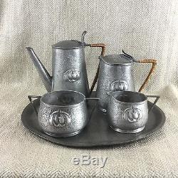 Vintage Art Nouveau Pewter Coffee Service Set Pot Jug Tray Jugendstil Hammered