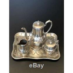 Vintage Art Nouveau tea coffee set with tray of nickel, teapot, sugar creamer