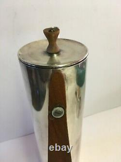Vintage BB Coffee / Tea Set Sugar Creamer with Lid Wood Handles Stamped MCM Rare
