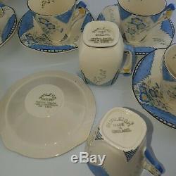 Vintage BURLEIGH WARE B & L ART DECO FULL Tea / Coffee set MAYTIME Pattern 1920