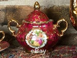Vintage Bavaria Coffee Set gold plated and hand painted (5 persons) with Tray