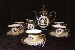 Vintage Bavaria Demitasse 24K Coffee Set With Victorian Couple, Beautiful