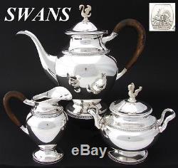 Vintage Belgian. 835 (nearly sterling) Silver 3pc Coffee or Tea Set, SWAN Finial