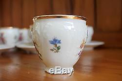 Vintage Bernadotte Floral Bohemian China Coffee Cup Set of 10, Czech Republic
