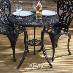 Vintage Bistro Set Cast Aluminium Black Outdoor Coffee Balcony Table Chair Patio
